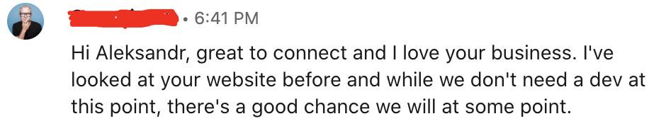 LinkedIn message screenshot