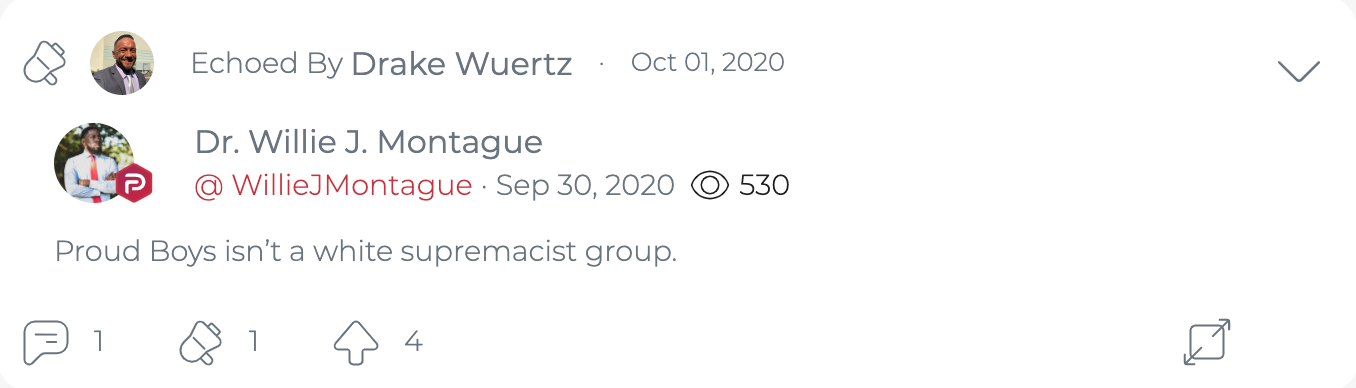 "@DrakeWuertzFLA ""echoes"" a Parler post claiming, without support or any other kind of explanation, that The Proud Boys are not a white supremacist group. (Image: Parler screenshot)"