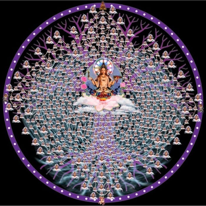 image of deity in the center of a web of interconnected beings