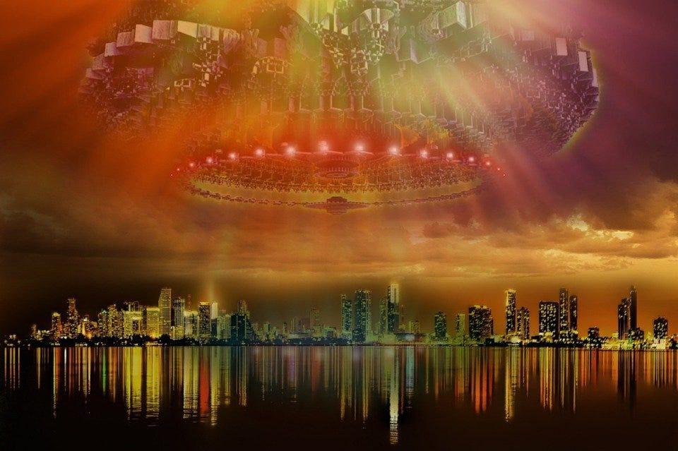 Futuristic, Ufo, Aliens, City, Rays, Skyline, Lake