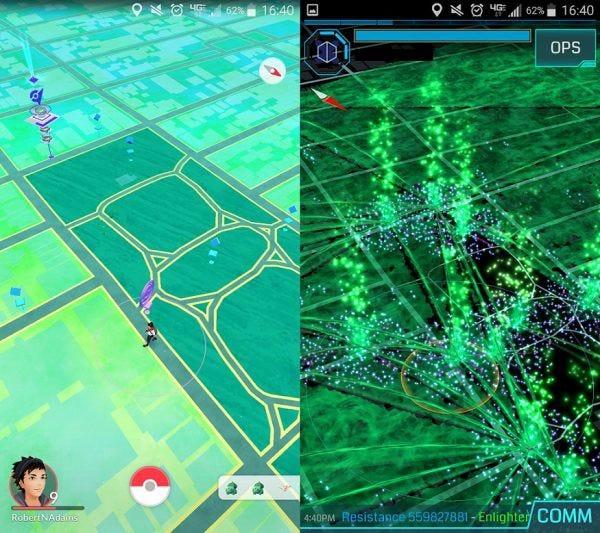 透過相同位置比較兩個遊戲,可以注意到《Ingress》的 Portal 並沒有完全反映在《Pokemon Go》上。