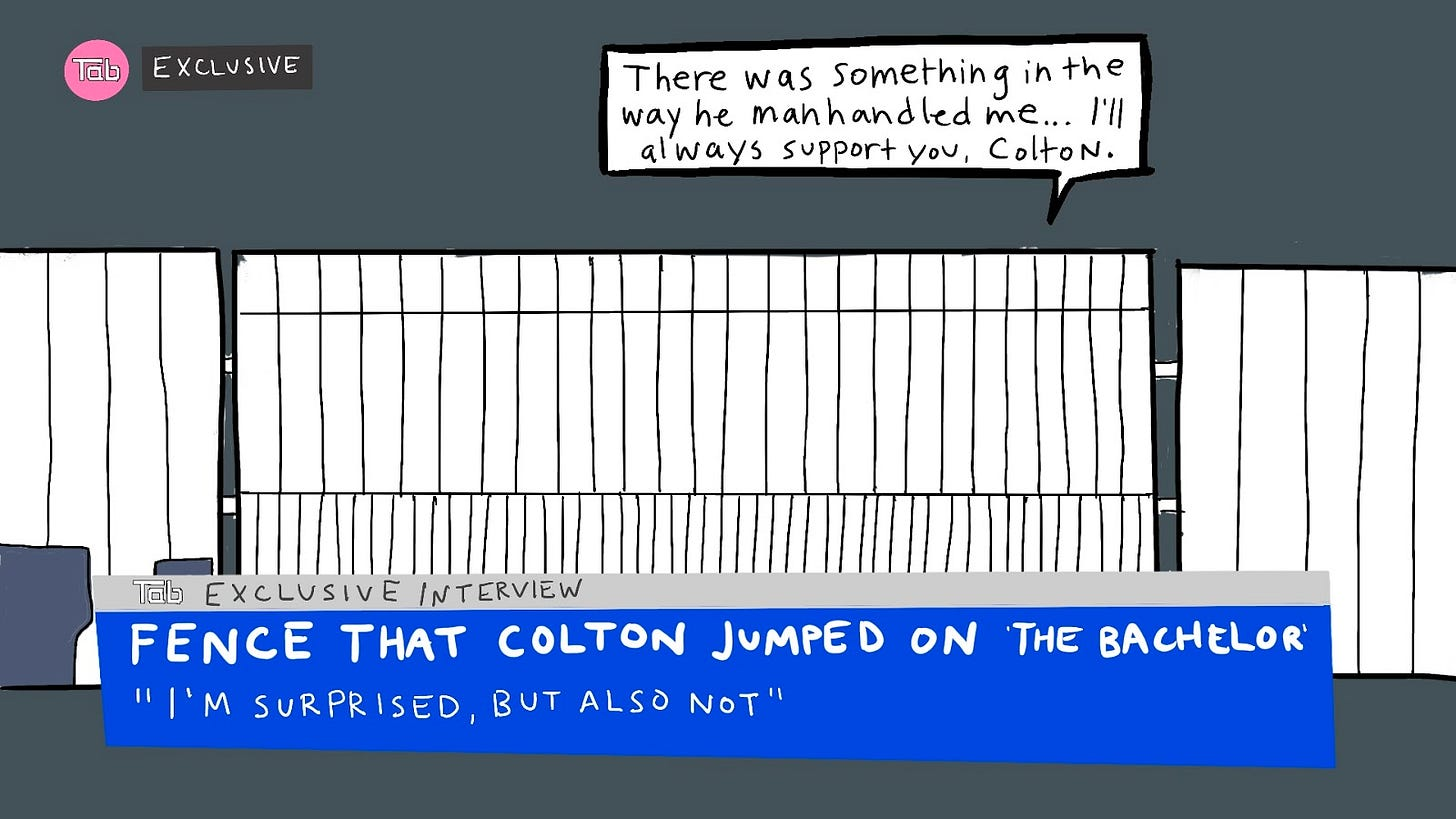 """Drawing of a fake news interview with a white driveway fence. The lower third reads """"Tab exclusive interview with Fence That Colton Jumped On the Bachelor,"""" featuring a quote underneath: """"I'm surprised, but also not."""" A dialogue box from the inanimate fence reads """"There was something in the way he manhandled me… I'll always support you, Colton."""""""