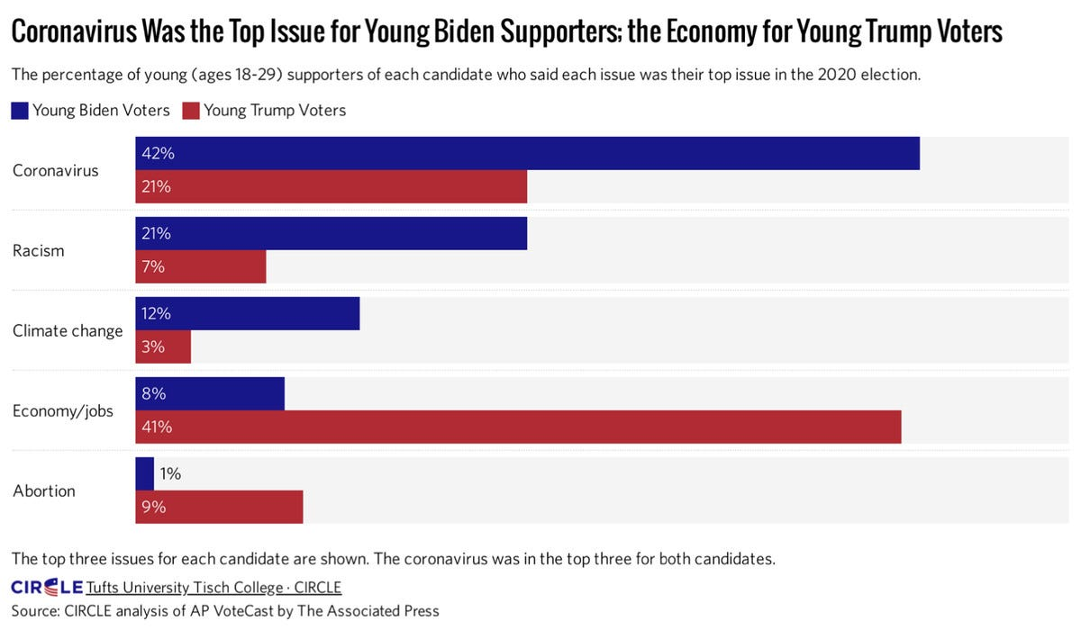 Charting showing the what young voters rank as their top issues
