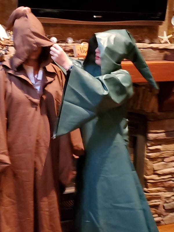 My Son and I in Hand-Crafted Robes