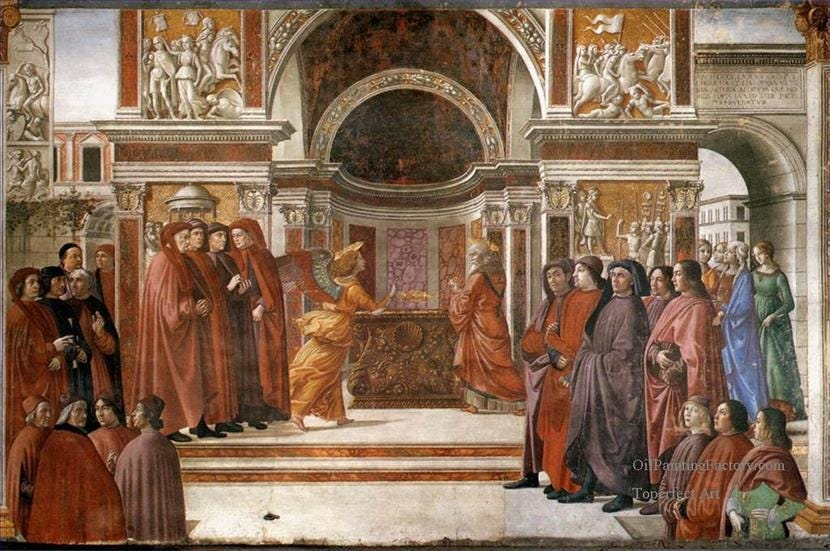 Oil Paintings of 0 Angel Appearing To Zacharias religious Renaissance  Florence Domenico Ghirlandaio Art for sale by Artists