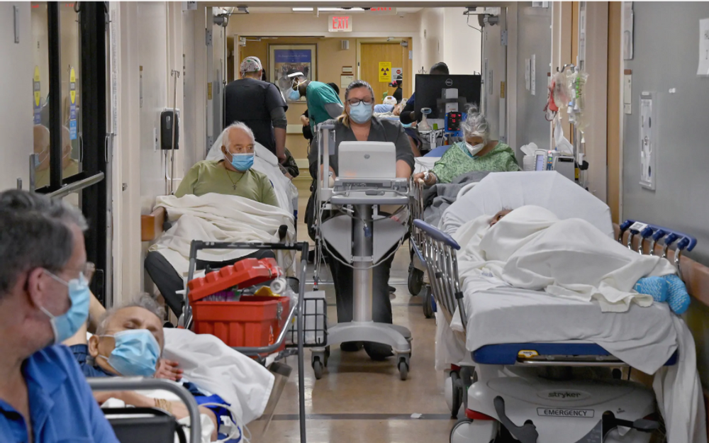 Southern California runs out of covid-19 ICU capacity and forced to treat patients in hallways and lobbies.