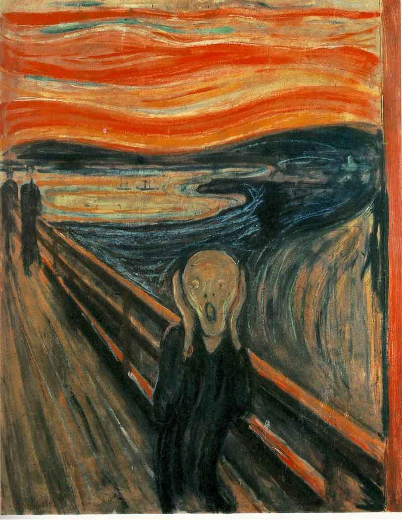 A mysterious figure clasps its pale face, screaming in anguish. It stands alone in the dock, its eyes and mouth wide open in horror. Two people can be glimpsed in the distance, oblivious to the figure's distress. In the background, the setting sun's light turns the clouds into an intense orange. Below a deep blue sea intermingles with the sunset.
