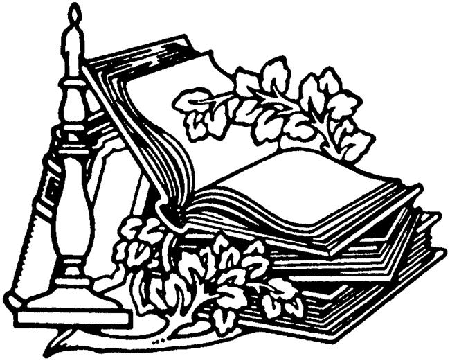 A book and a candlestick with an unidentifiable vine.