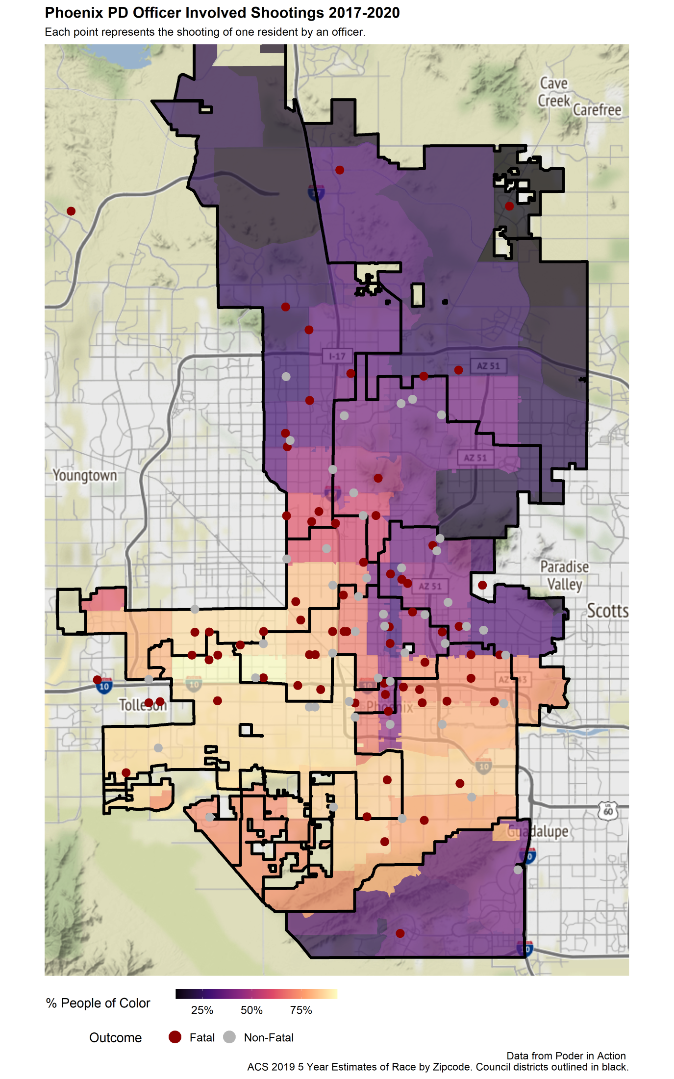 Mapping OIS shootings and communities of color in Phoenix