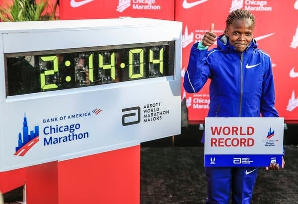 Kosgei, above, broke PaulaRadcliffe's world record for the women's marathon by 81 seconds.
