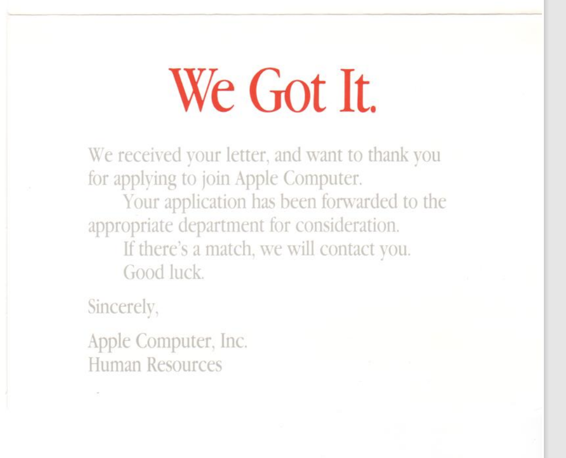 Postcard from Apple Computer stylized in classic Apple typogrpahy. It says they received my resume and application and will consider it.