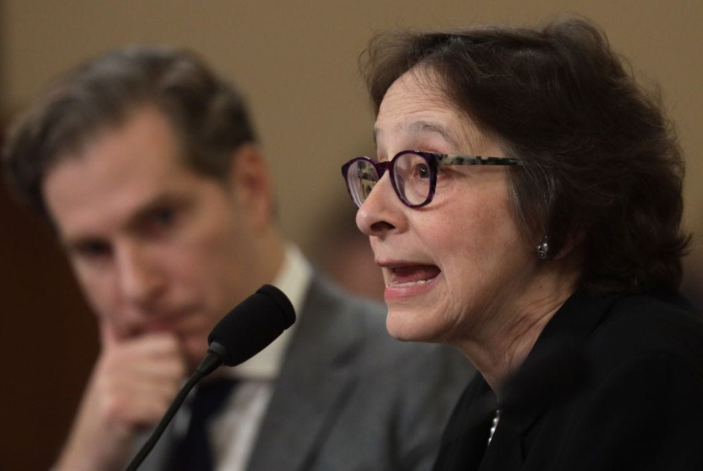 Pamela Karlan testifies before the House Judiciary Committee in December 2019. A vocal Trump critic, Karlan is on indefinite leave from the Oversight Board. (Alex Wong / Getty Images)