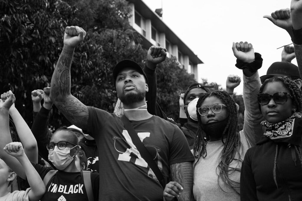 Damian Lillard at the Black Lives Matter march in Portland