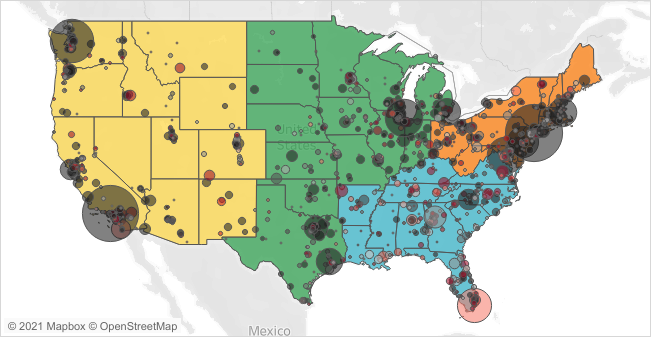 A dual layer choropleth map of the US. The background layer of the US is colored coded (Yellow, Orange, Green, and Blue) according to region, and bubbles are displayed on top of it in varying sizes and colors.
