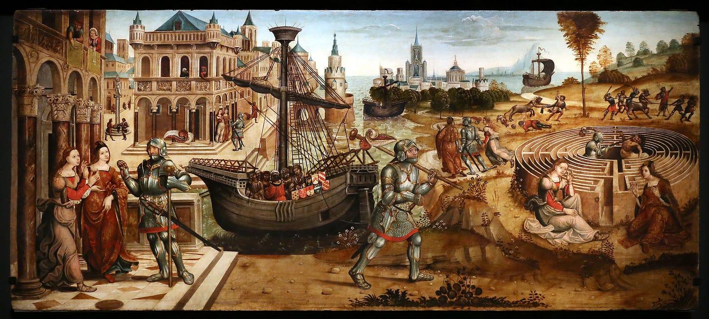 Maestro di Tavarnelle: Theseus and the Minotaur