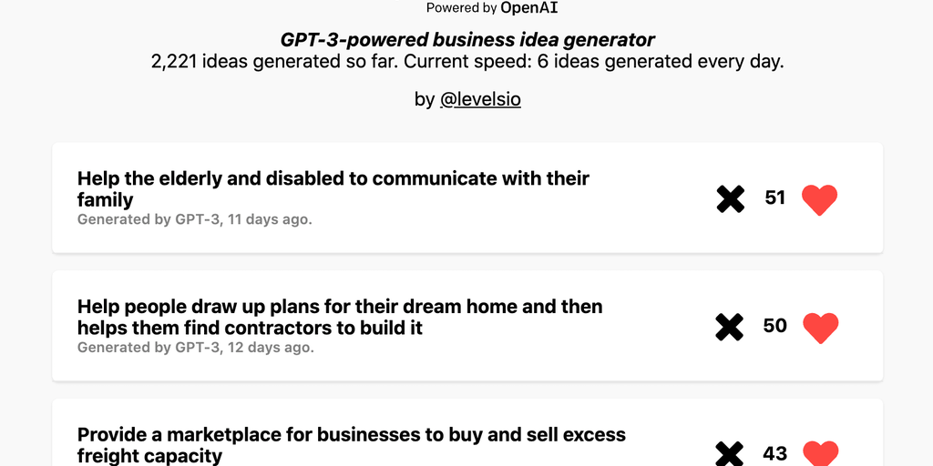 IdeasAI - OpenAI-powered startup idea generator | Product Hunt