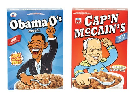 Cereals named after Obama and McCain