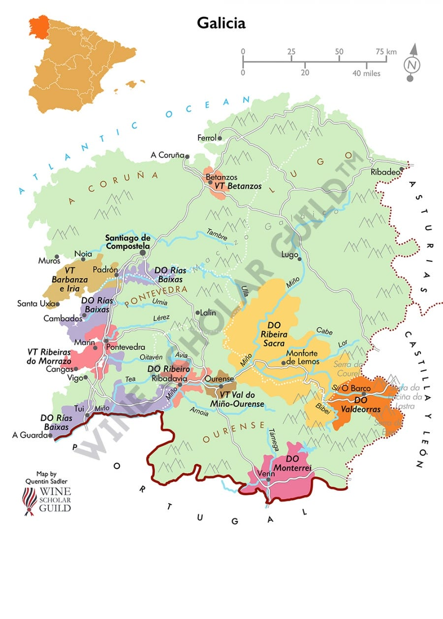 Galicia Spain Wine Map