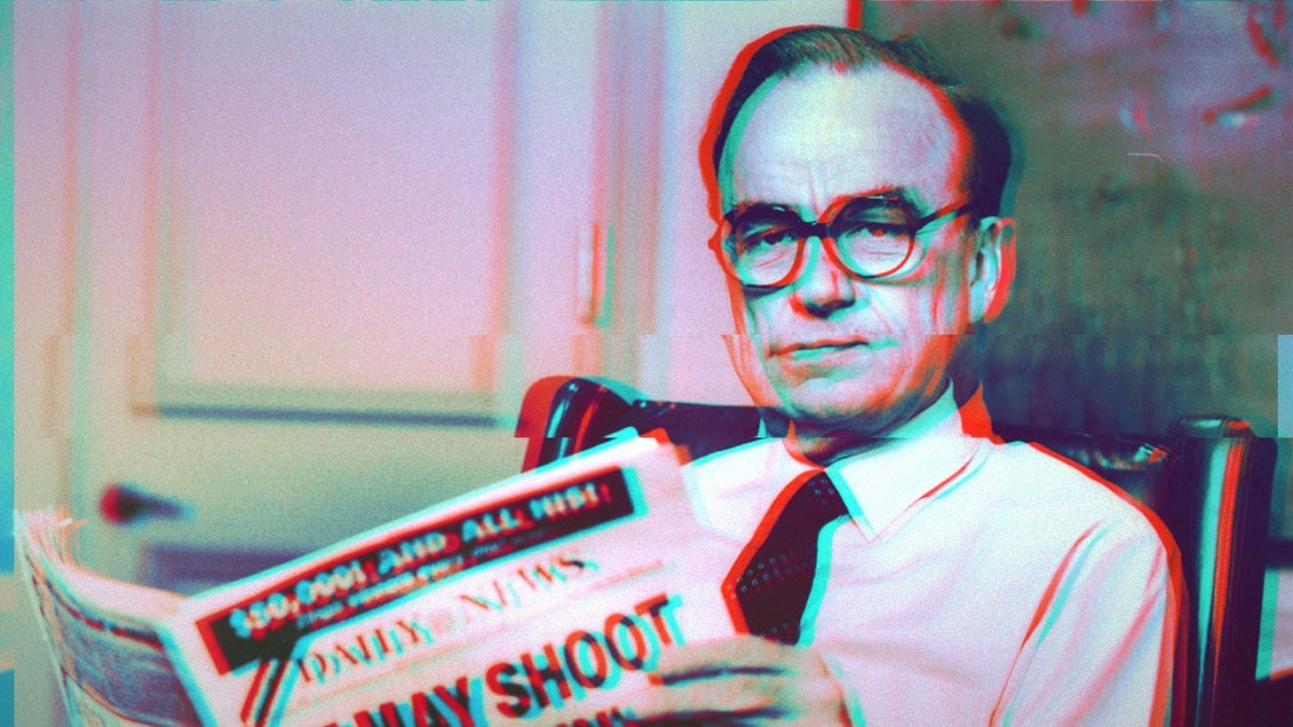 Old photo of Rupert Murdoch, sitting in a chair reading a newspaper