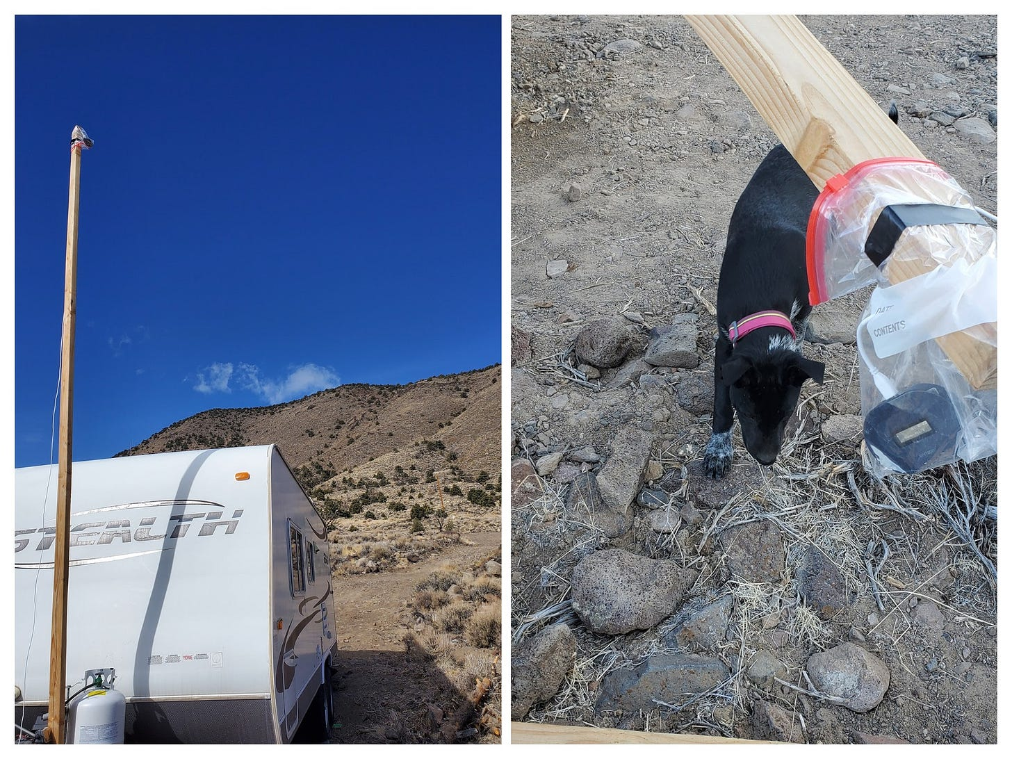 """Collage photo. Image on left shows a 2""""x4"""" wood post at the front of a travel trailer. Image at right shows a close up of the end of the post and a hotspot in a Ziploc bag duct taped to end. A black puppy is nearby checking things out."""