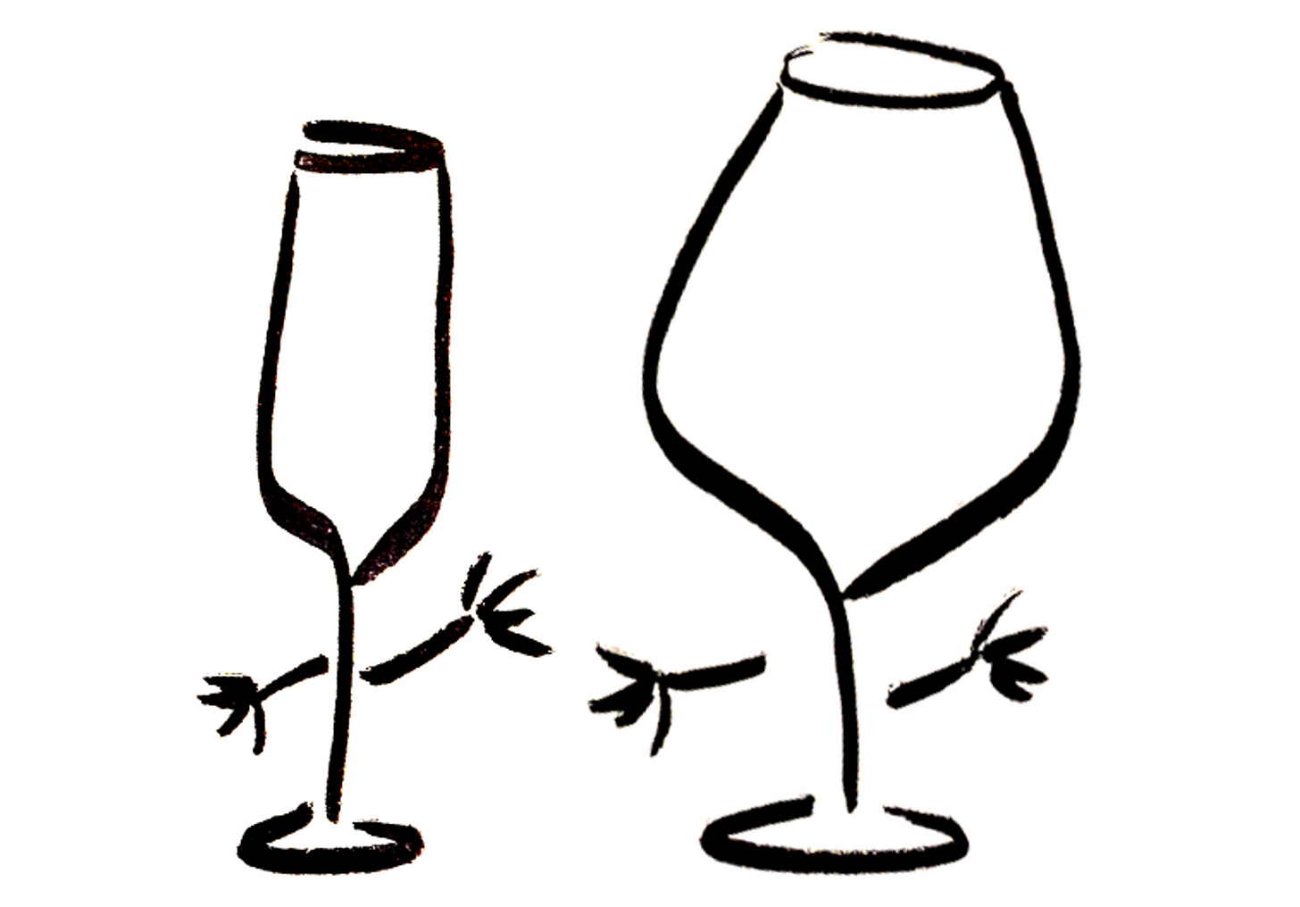 Two anthropomorphic wine glasses being friendly
