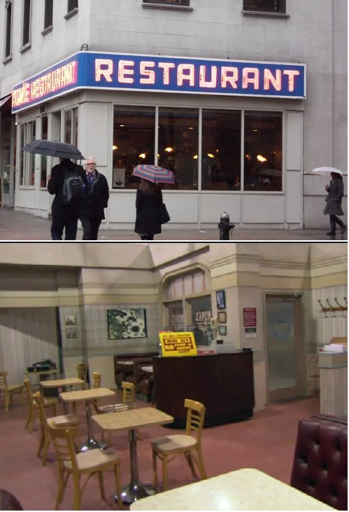 r/seinfeld - If we're talking about wall continuity, can we talk about this notched corner at Monk's?