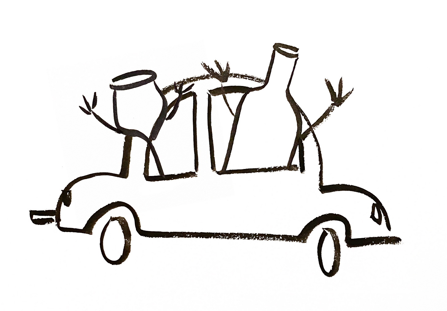 Anthropomorphic wine glasses riding in a car