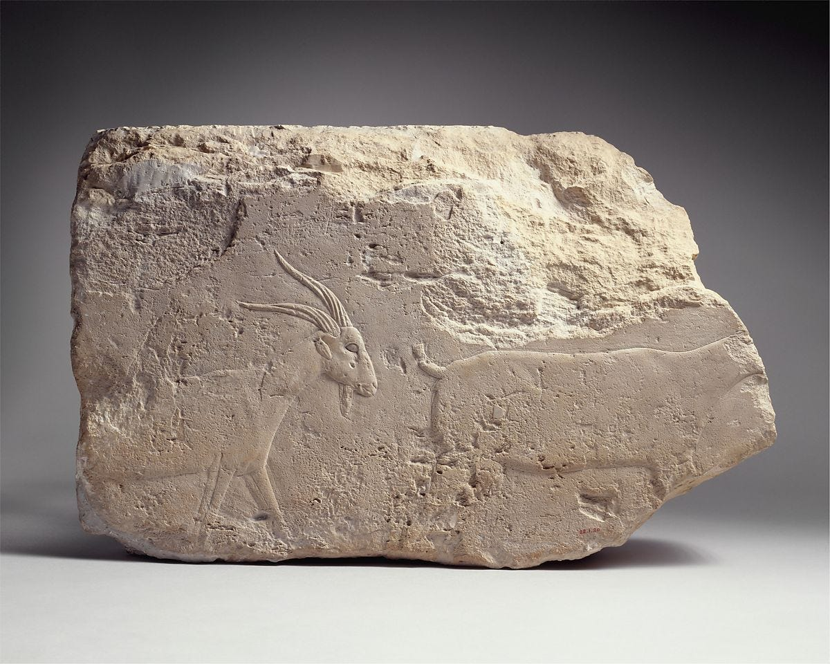 Relief with a billy goat, Limestone