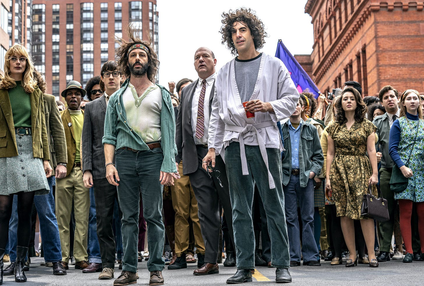 Jeremy Strong and Sasha Baron Cohen in The Trial of the Chicago 7