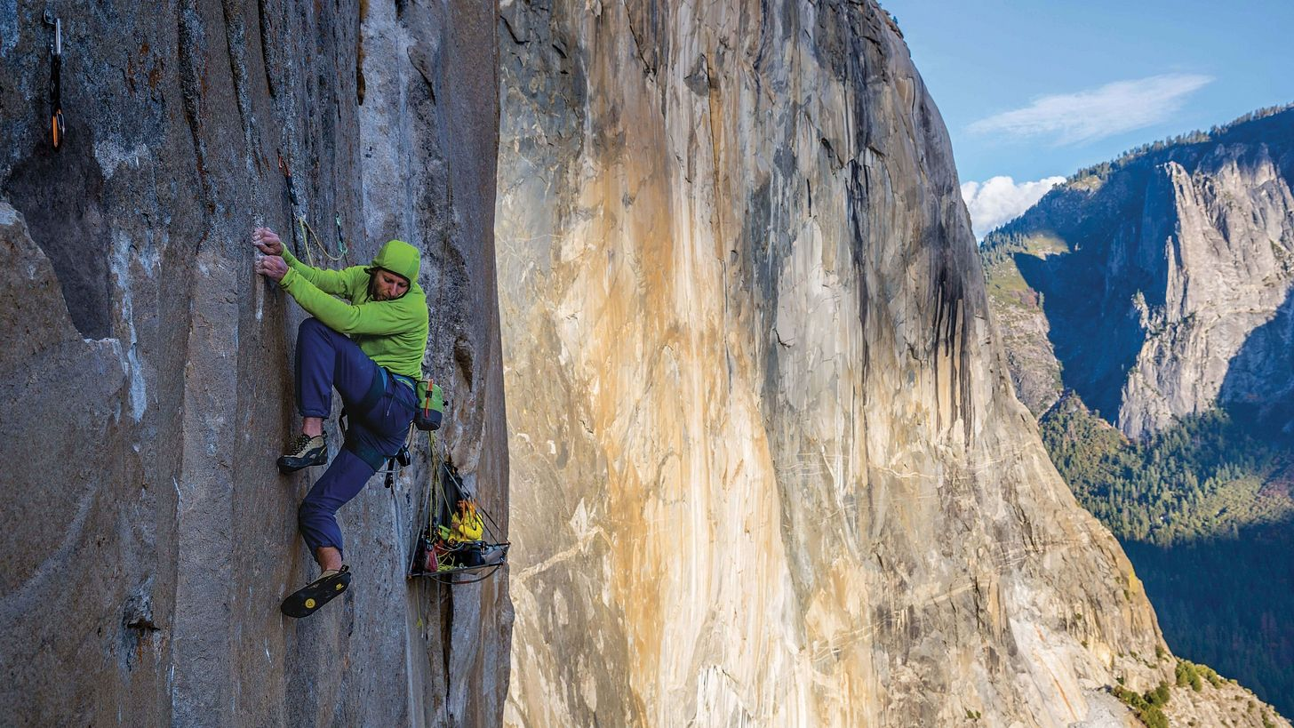 Tommy Caldwell climbing on the Dawn Wall in Yosemite National Park, California