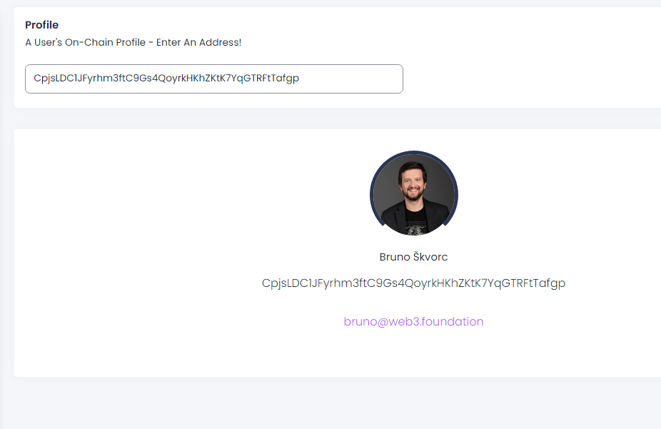 A user's avatar is displayed based on their email address