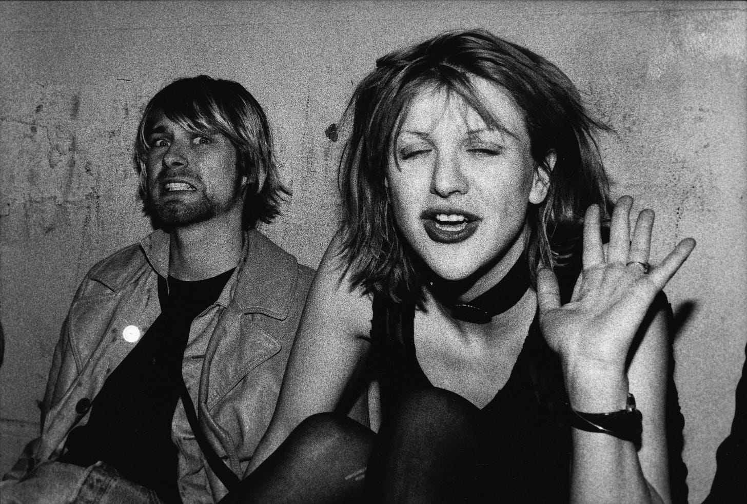 A picture of Kurt Cobain and Courtney Love