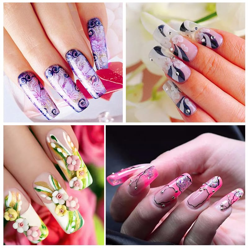 ZJOYplus Nail Art Stamp Spring Flower Collection Leaves Image Stamping Plate Stencils Manicure Stamp Tool 035-038