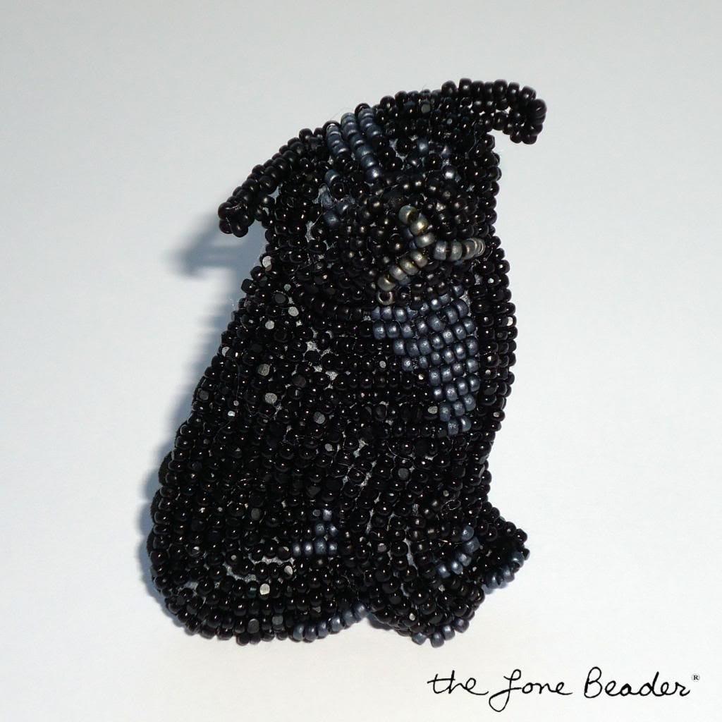 black beaded pug dog pin bead embroidery pendant etsy akc art brooch