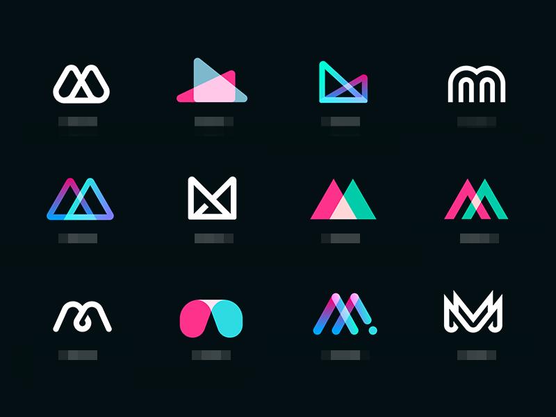 Mmmm icons set abstract app illustrations icon letter type mark identity branding logo