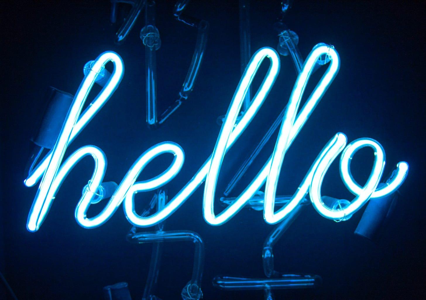 Hello neon blue