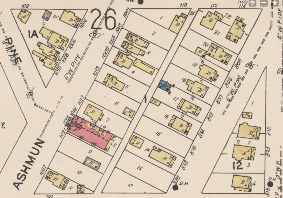 Clip of 1922 map showing streets, building lots, and buildings.