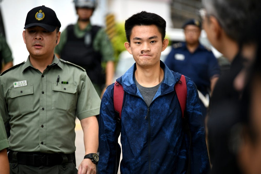 Chan Tong-kai walks out of the prison on October 23, 2019. File photo.