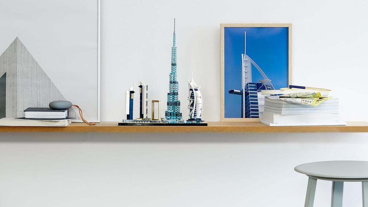 The Dubai skyline has been recreated as a 740-piece Lego set that includes the Burj Khalifa,Jumeirah Emirates Towers, the Dubai Fountain and Dubai Frame. Courtesy Lego