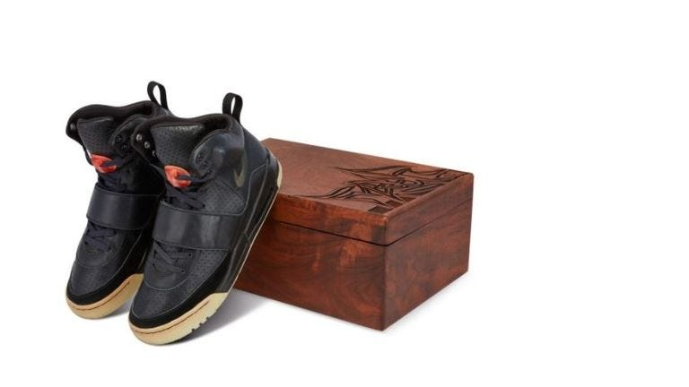 Kanye West's Yeezy trainers have sold for a record-breaking $1.8m (£1.3m). Pic: Sotheby's