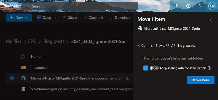 Move a document from OneDrive to a shared library in SharePoint.