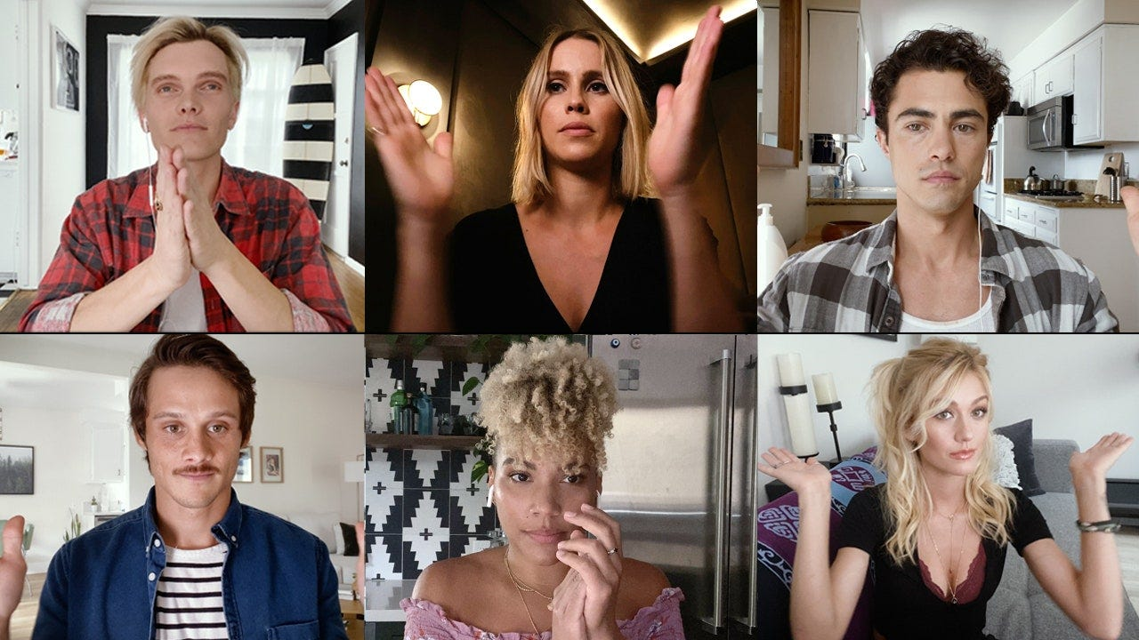 From left to right top to bottom Actors Luke Baines Claire Holt  Darren Barnet Timothy Granaderos Emmy RaverLampman and...