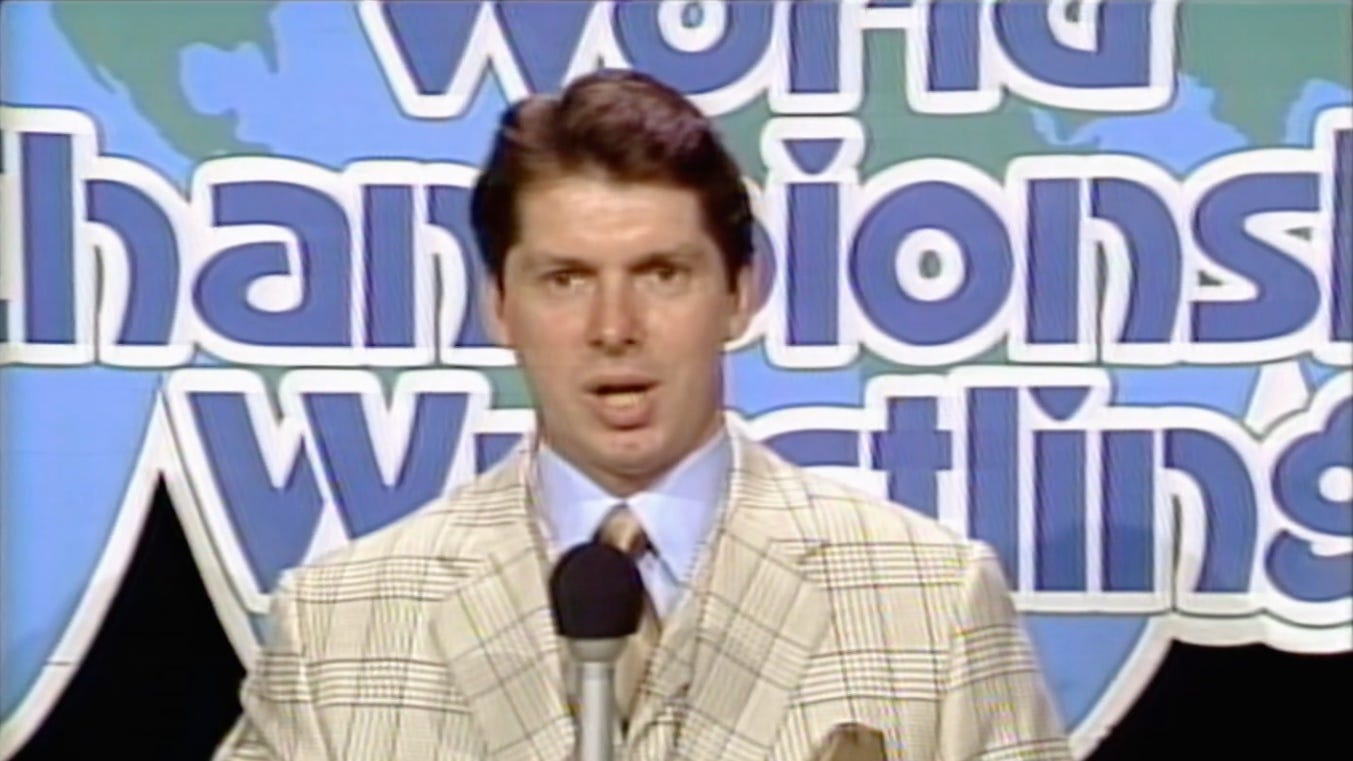 """Vince McMahon hosts the infamous """"Black Saturday"""" edition of World Championship Wrestling on Superstation WTBS that aired on July 14, 1984. (Image source: WWE Network screenshot.)"""
