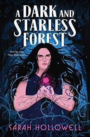 The cover of A Dark and Starless Forest features a furious fat girl, her arms covered in branching patterns, a glowing flower cupped in her hands. A dark forest crowds around her. Her long black hair flows over her shoulders. She is terrifying and amazing.