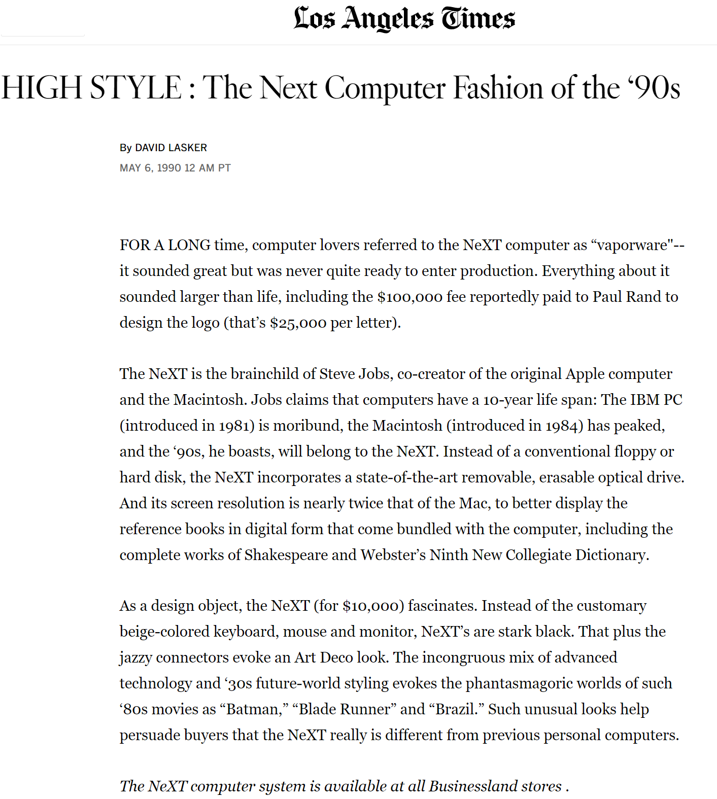 "LA Times headline ""High Style: The Next Computer Fashion of the 90s"""