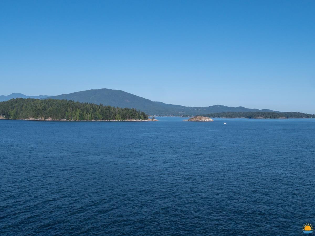 Salmon Rock on Keats Island as seen from Gospel Rock in Gibsons, BC. Bowen Island is in the distance.