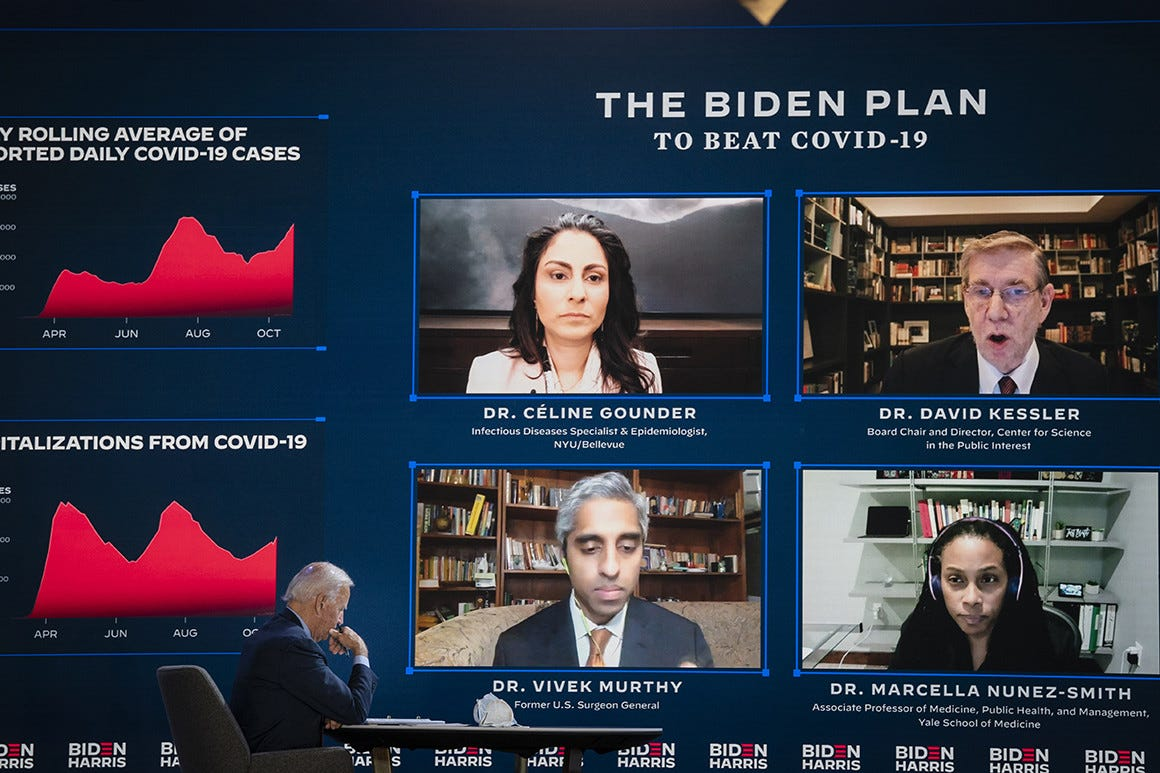 Joe Biden attends a coronavirus briefing in Wilmington, Del., on Oct. 28, 2020. One of the participants in the briefing included, lower right, Yale University professor of medicine Dr. Marcella Nunez-Smith.   Drew Angerer/Getty Images