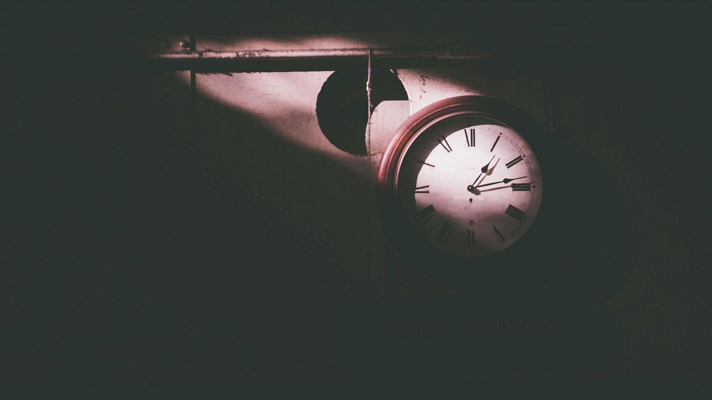A clock inside of Alcatraz.