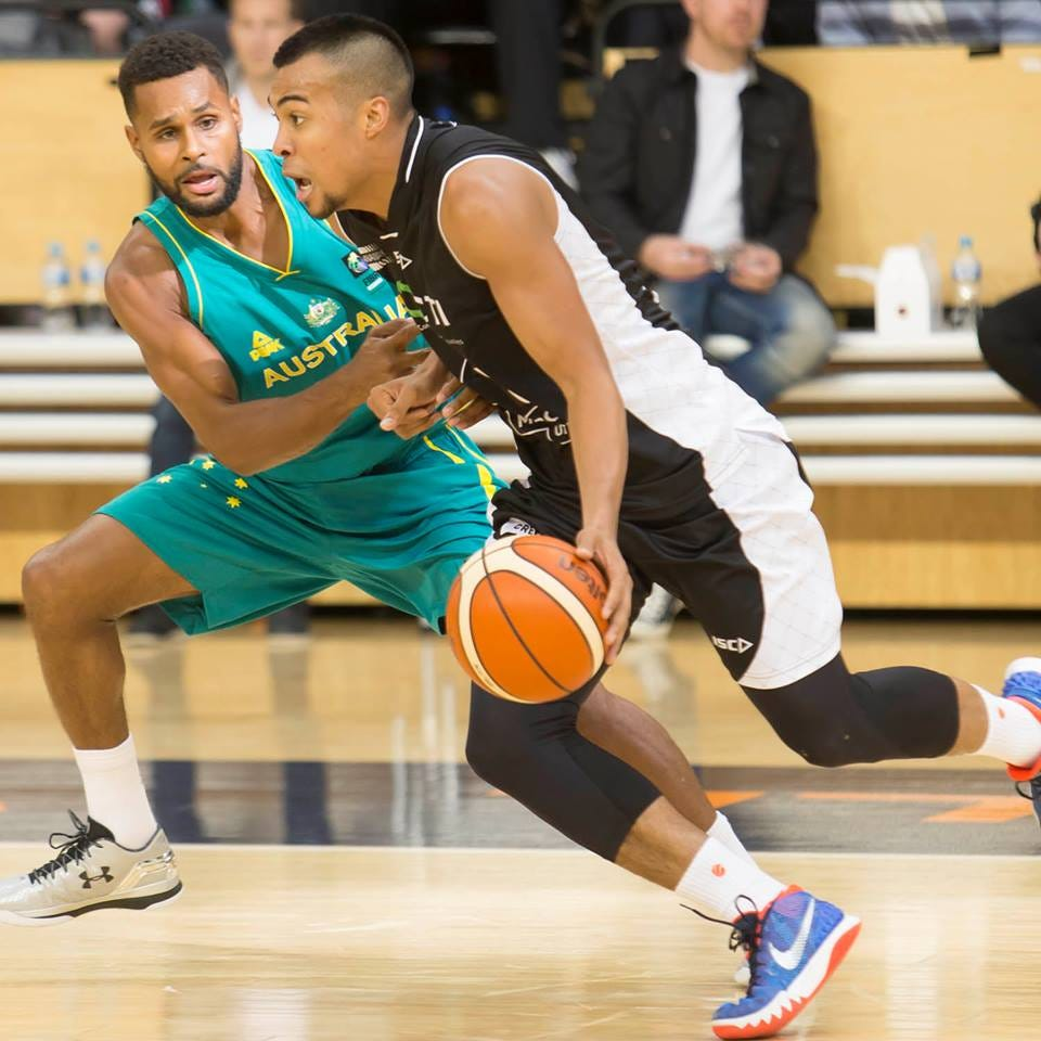 Saint Mary's Alumni! Melbourne's Stephen Holt fighting off Patty Mills (Photo Credit: CTI Melbourne United)