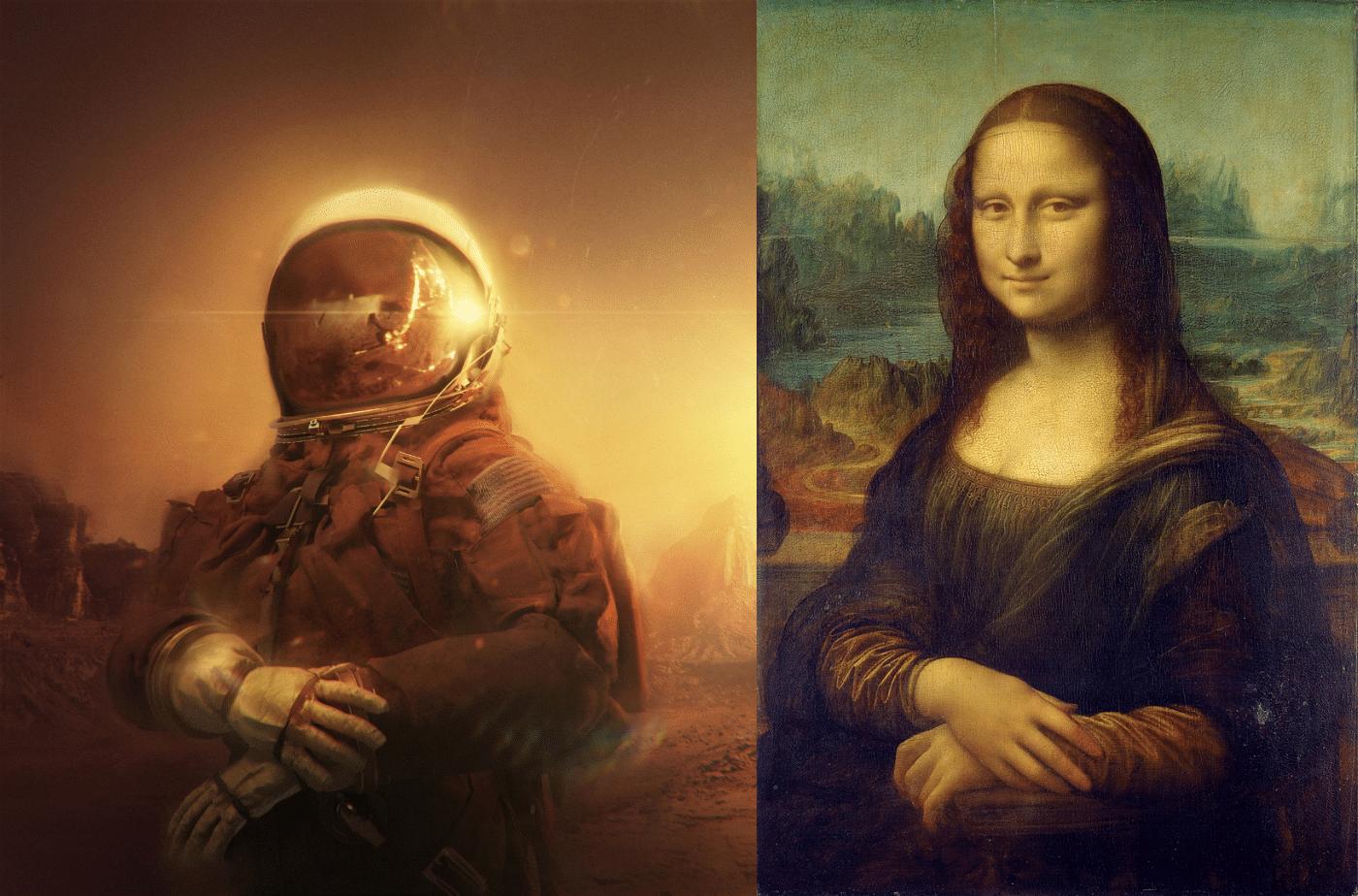 """The Astronaut"" by Elia Pellegrini & ""Gioconda"" by Leonardo da Vinci"